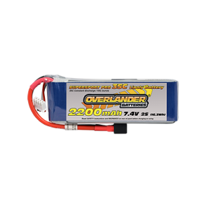 2200mAh 2S 7.4v 35C LiPo Battery - Overlander Supersport Pro