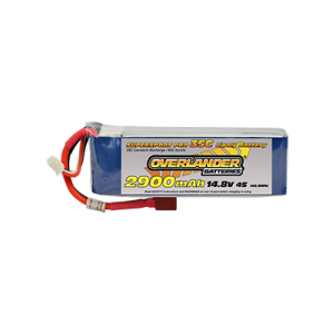 2900mAh 4S 14.8V 35C LiPo Battery with Deans Connector - Overlander Supersport Pro