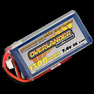 1300mAh 2S 7.4v 30C LiPo Battery - Overlander Supersport