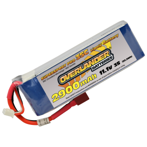 2900mAh 3S 11.1v 35C LiPo Battery with Deans Connector - Overlander Supersport Pro