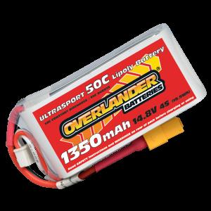 1350mAh 4S 14.8v 50C LiPo Battery with XT60 Connector - Overlander Ultrasport