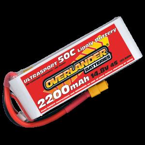 2200mAh 4S 14.8v 50C LiPo Battery with XT60 - Overlander Ultrasport